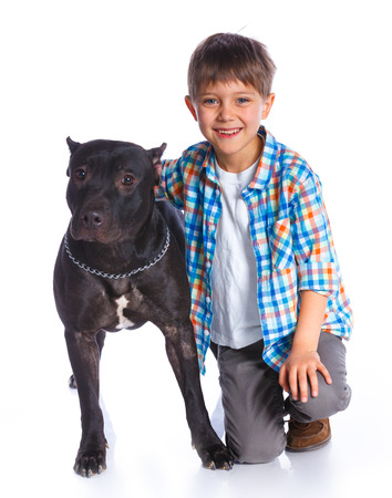 5 6 years: Boy with his Pit Bull Terrier