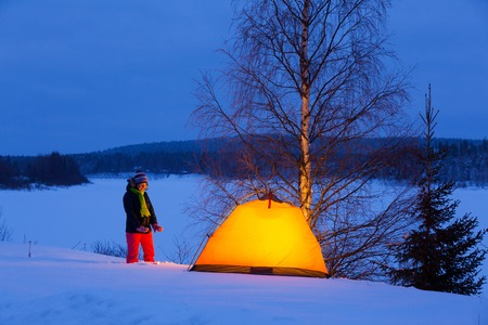 Woman in winter camping photo