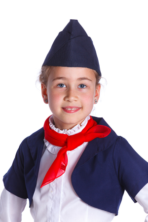 airhostess: Portrait of Charming Little Stewardess Dressed In Blue Uniform. Isolated On White Background