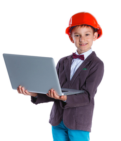 executive helmet: Young Architect in hardhat, holding notebook. Isolated on white background