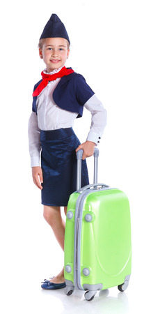 airhostess: Charming Little Stewardess Dressed In Blue Uniform. Isolated On White Background