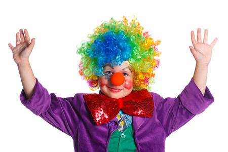 Little boy clown. Isolato su sfondo bianco.