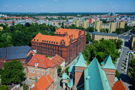 wroclaw: Aerial view of Wroclaw from tower of Cathedral of St. John the Baptist, Poland