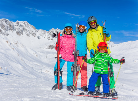 snow ski: Winter fun, skiing - happy family ski team Stock Photo