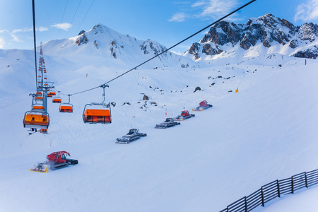 chairlift: Orange bulbs of chair-lift, Ischgl, Austria Alps.