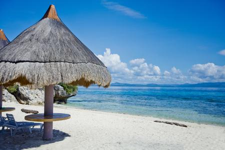 deckchair: Tropical beach landscape with deckchair and parasol, Philippines