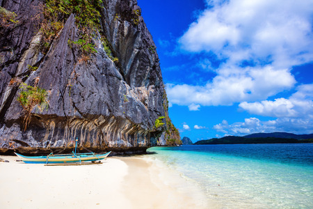 Sailboat in El Nido. Ocean view in the Palawan Island in the Philippines. Stock Photo