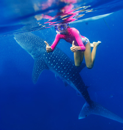 wide  wet: Young girl snorkeling with whale shark in the sea, Philippines