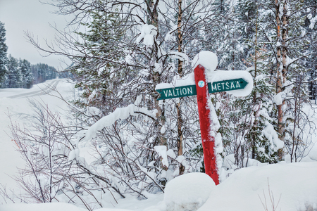 winter finland: Wooden signpost in the forest on winter, Finland