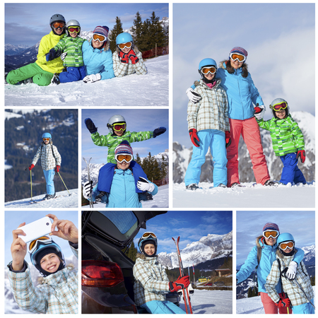 Collage of images Family On Ski Holiday In Mountains Stock Photo