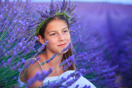 lavander: Portrait of beautiful young girl in the lavander fields in Valensole. Provence, France.