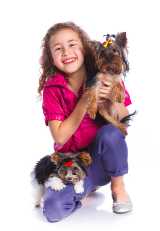 schooler: Beautiful brunette girl playing with her two yorkshire terriers. Isolated on the white background