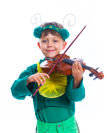 solo violinist: Funny boy in a suit of a grasshopper with violin. Isolated on the white background Stock Photo
