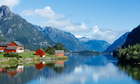 Tipical red fishing houses. Norway Stock Photo