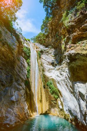 Beautiful waterfall near Nidri on the island of Lefkada in Greece