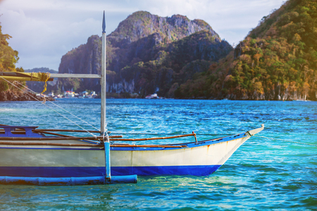 Traditional Philippines white boat Stok Fotoğraf