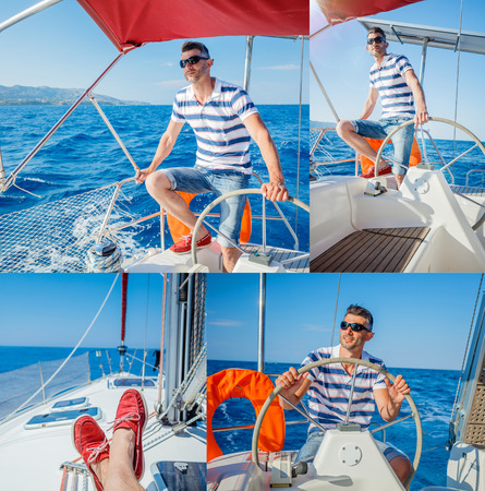 cruising: Collage of Young man sailing yacht