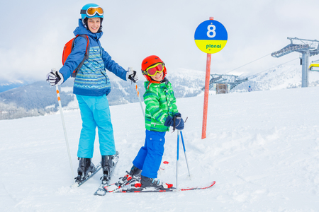 Skiers in a winter ski resort.