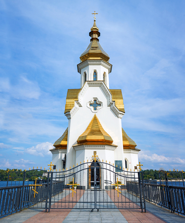 Church on river Dnipro, Kyiv, Ukraine
