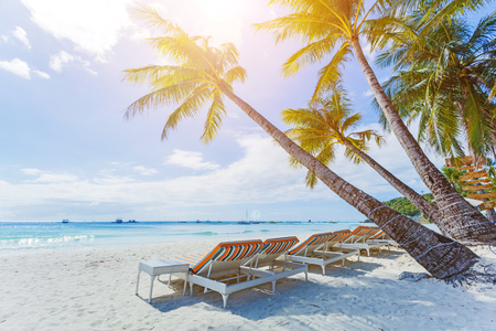Tropical white sand beach in Boracay, Philippines Stock Photo