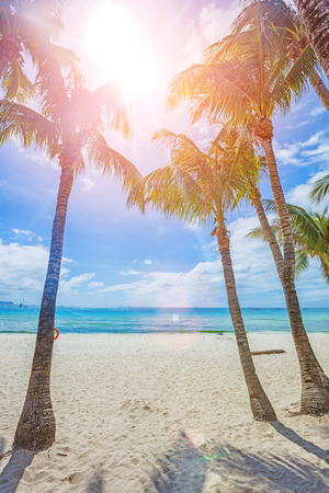 Tropical white sand beach in Boracay, Philippines Stock Photo