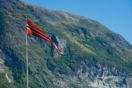 Norway flag - nature and travel background