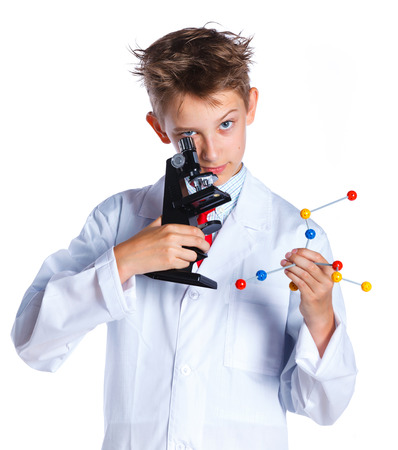 Little boy scientist in the laboratory.