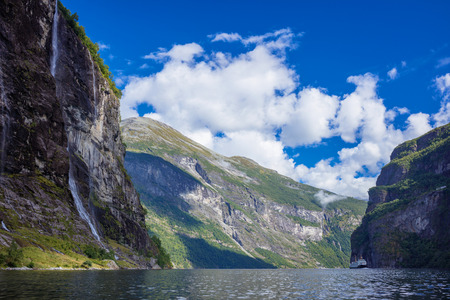 Geiranger fjord famous waterfalls, accessible only from water. Geirangerfjord, Norway.