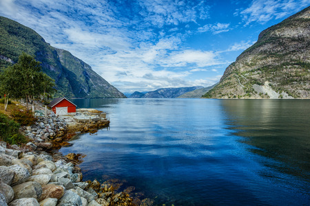 Beautiful fishing house on fjord. Norway