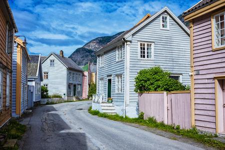 Typical Norwegian fishing village, Leirdalsyri, Norway Stock Photo