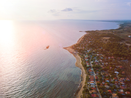 Panoramic top view of a coastal line. Aerial drone birds eye view photo.