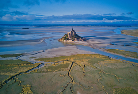 Top view of the Mont Saint Michel Bay, Normandy France