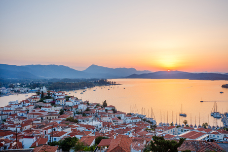 Sunset on Poros island, Greece. Aerial drone photo
