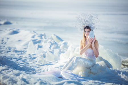 Young model in luxurious strapless corset ball gown sitting on slabs of broken ice at the frosty seaside. Winter fairytale concept.