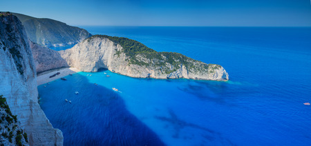 Navagio bay and Ship Wreck beach in summer. The famous natural landmark of Zakynthos, Greek island in the Ionian Sea Stock Photo