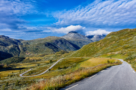 Beautiful Norway road landscape on high mountains.