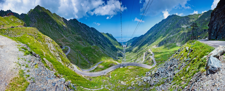 Transfagarasan pass in summer. Crossing Carpathian mountains in Romania, Transfagarasan is one of the most spectacular mountain roads in the world. Stock Photo