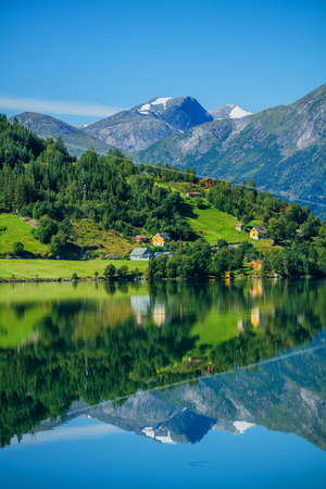 Beautiful Nature Norway natural landscape with fjord and mountain. 写真素材