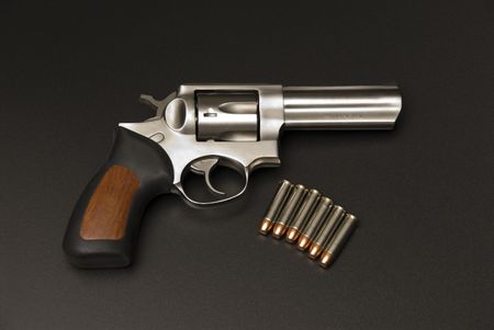 mag: Stainless Steel .375 Magnum revolver. Stock Photo