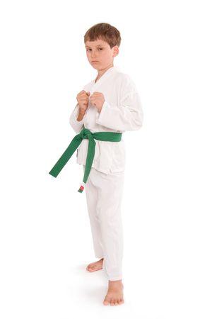 7yo green belt tough guy. 版權商用圖片