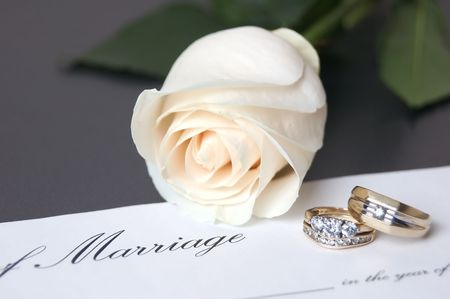 marriage certificate: Wedding Rings with white rose & marriage certificate ad series