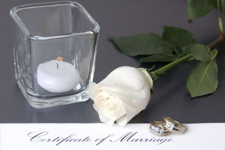 Wedding Rings with white rose & marriage certificate ad series