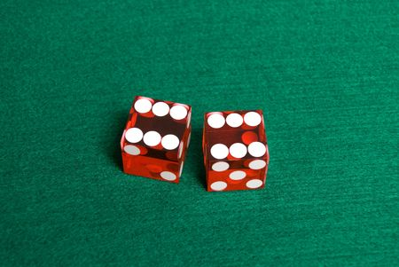 Red Casino Dice with Box Cars showing.