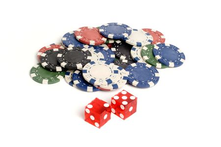 Red casino dice with lucky 7 showing with chips