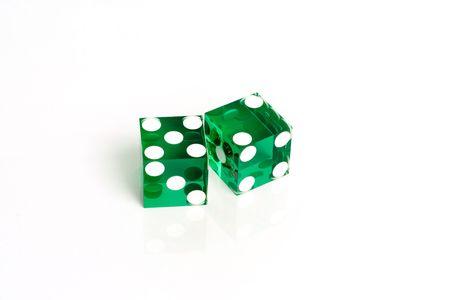 Green Casino dice showing seven