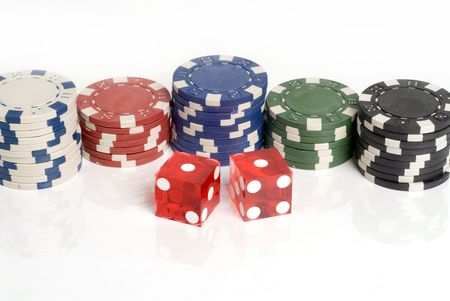 Red Casino Dice with Snake Eyes showing with chips Banco de Imagens