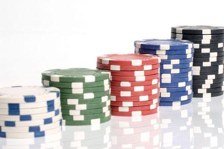 White, green, blue, red and black pocker chips