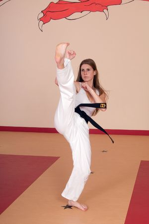 Martial Arts Black Belt Woman Stock Photo