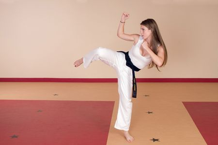 martial arts woman: Martial Arts Black Belt Woman Stock Photo