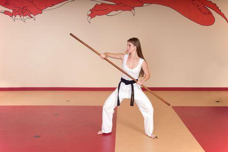 Second Degree Black Belt Woman Stok Fotoğraf
